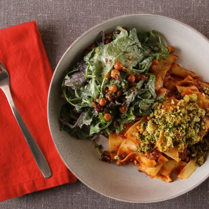 Papardelle with Beef Ragu and Caesar Salad