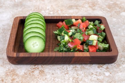 Tomato and Cucumber Vinegar Salad with Basil