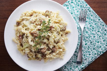 Pasta with Sausage, Caramelized Cabbage, and Goat Cheese