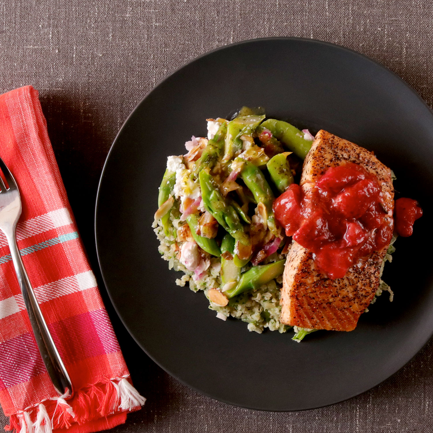 Baked Salmon Filet w/ Strawberry Rhubarb Compote