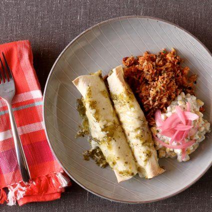Salsa Verde Pulled Pork Enchiladas