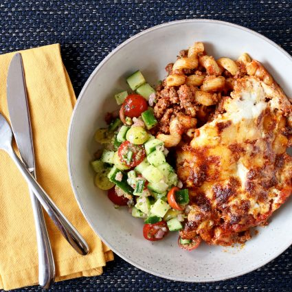 Baked Cavatappi Pasta and Beef Bolognese Sauce