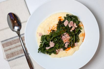 Cheesy Grits with Ham and Kale