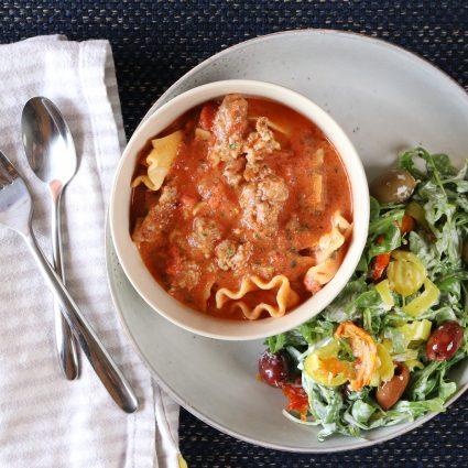Lasagna Soup with Antipasto Arugula Salad